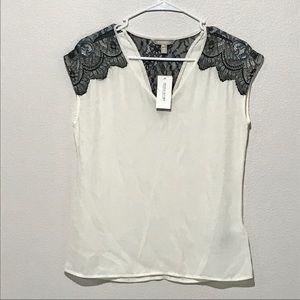 Banana Repuplic New Sheer lace blouse xs petite